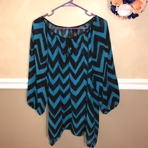 New Directions chevron tie front sheer tunic